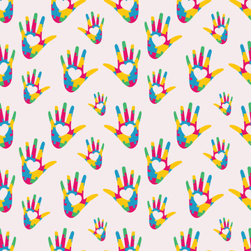 hand shaped puzzle seamless pattern vector illustrator background for autism day