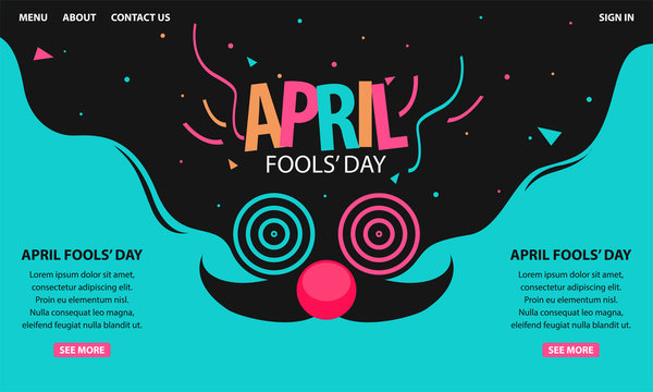 April fools day. Designed for greeting April fools day. Modern landing page