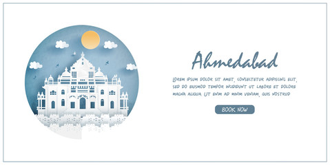Fototapete -  India. World famous landmark with white frame and label. Travel postcard and poster, brochure, advertising Vector illustration.