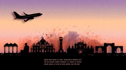 Fototapete - Watercolor of Ahmedabad, India silhouette skyline and famous landmark. vector illustration.