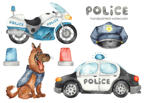Watercolor set with police car, motorcycle, dog and flashing lights.