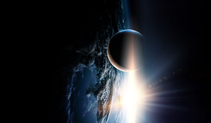 Fototapete - Abstract planets and space background