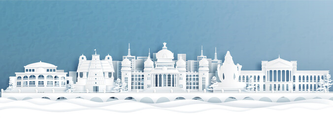 Fototapete - Panorama view of Bengaluru skyline with India famous landmarks in paper cut style vector illustration.