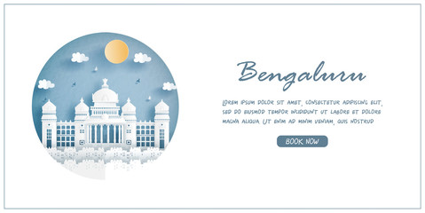 Wall Mural - Vidhana Soudha the Bangalore, India. World famous landmark with white frame and label. Travel postcard and poster, brochure, advertising Vector illustration.