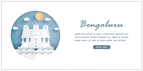 Wall Mural - Bangalore, India. World famous landmark with white frame and label. Travel postcard and poster, brochure, advertising Vector illustration.