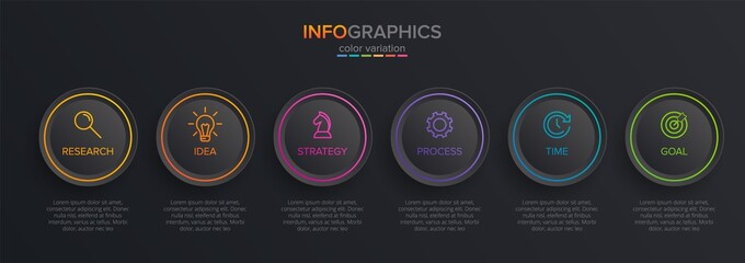 Obraz Concept of arrow business model with 6 successive isometric steps. Six colorful graphic elements. Timeline design for brochure, presentation. Infographic design layout - fototapety do salonu