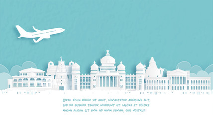 Fototapete - Travel poster with Welcome to Bengaluru, India famous landmark in paper cut style vector illustration.
