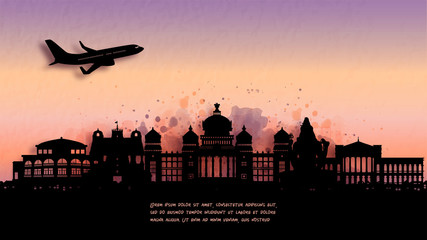 Fototapete - Watercolor of Bengaluru, India silhouette skyline and famous landmark. vector illustration.