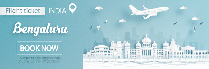 Fototapete - Flight and ticket advertising template with travel to Bengaluru, India concept and famous landmarks in paper cut style vector illustration