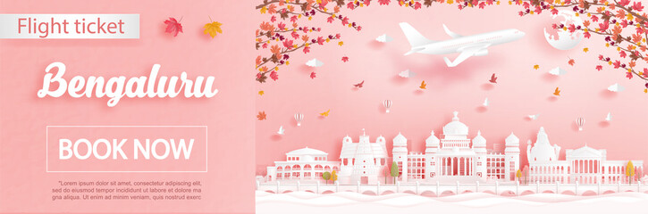 Fototapete - Flight and ticket advertising template with travel to Bengaluru, India in autumn season deal with falling maple leaves and famous landmarks in paper cut style vector illustration