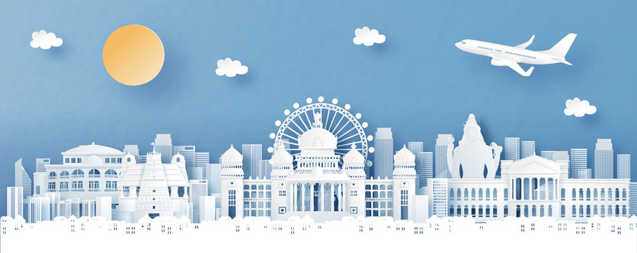 Panorama view of Bengaluru, India with temple and city skyline with world famous landmarks in paper cut style vector illustration