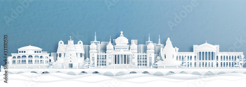 Fototapete Panorama view of Bengaluru skyline with India famous landmarks in paper cut style vector illustration.