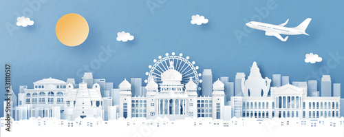 Fototapete Panorama view of Bengaluru, India with temple and city skyline with world famous landmarks in paper cut style vector illustration