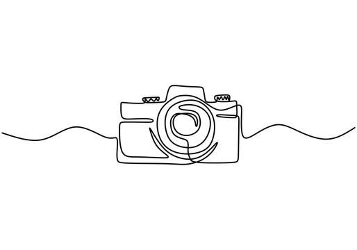 One line digital camera design. Hand drawn minimalism style, technology gadget vector illustration.