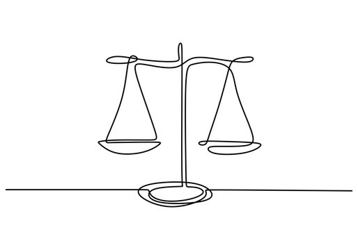 One line drawing of law balance, or Scale icon, symbol of court and firm. Vector illustration continuous hand drawn minimalism design.