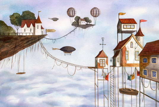 Watercolor magical houses (city, street) with clouds, sky, airballoons and flying islands. Hand drawn illustration.