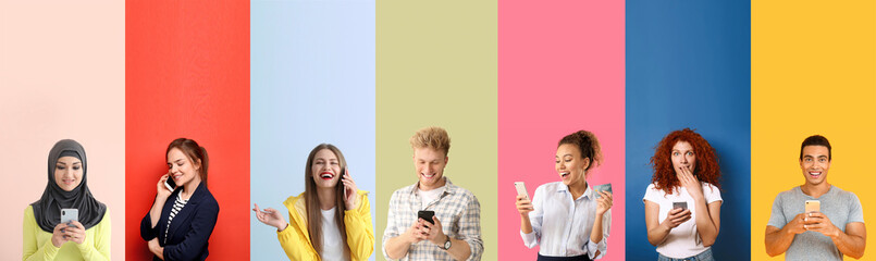 Collage of photos with different emotional people using mobile phones - fototapety na wymiar