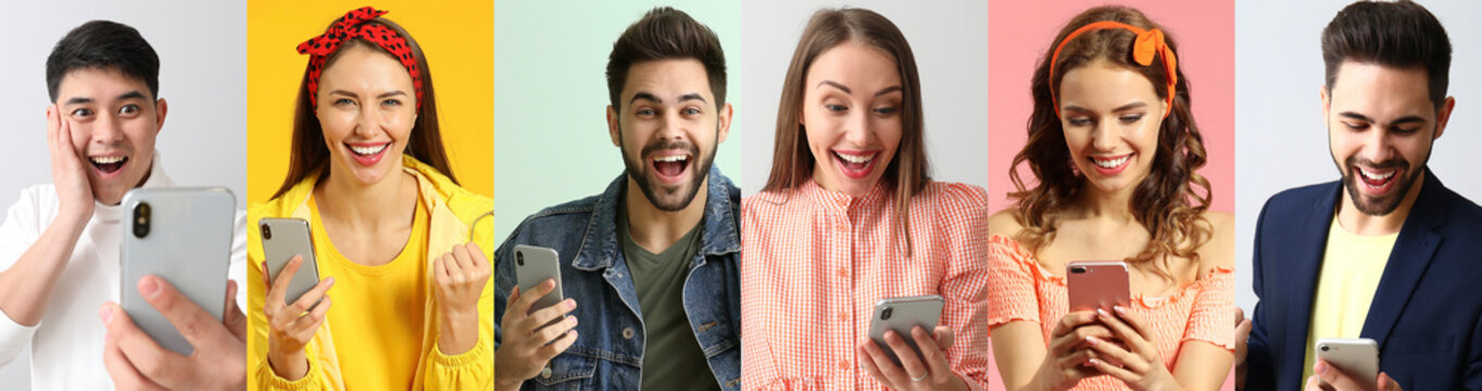 Collage of photos with happy young people holding their mobile phones