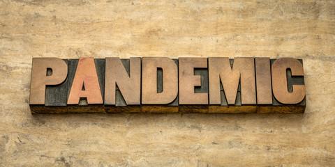 Keuken foto achterwand Hoogte schaal pandemic word in letterpress wood type