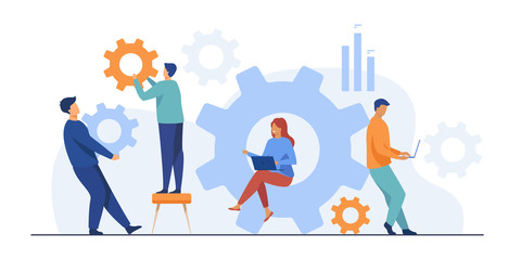 Business team working on cogwheel mechanism together. People carrying gears, using laptops . Vector illustration for teamwork, technology, solution, engineering concept Fototapete