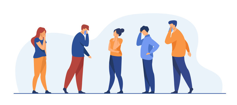 Group of sick people suffering from flu symptoms. Men and women feeling headache, sneezing, applying handkerchief to noses. Vector illustration for healthcare, sickness, infection concept