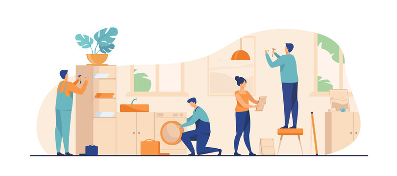 Handyman working at customer home. Repair man fixing washing machine, hammering nails. Vector illustration for housekeeping, household, service concept