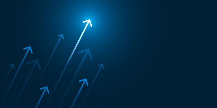 Up light arrow on dark blue background with copy space, business growth concept.
