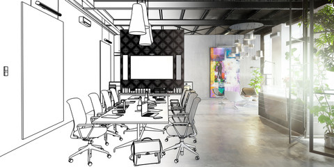Contemporary Commercial Space Design (drawing) - panoramic 3d visualization Fototapete