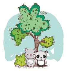 cute animals, panda and tree bush cartoon