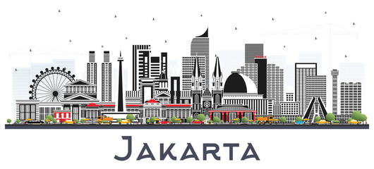 Jakarta Indonesia City Skyline with Gray Buildings Isolated on White. Papier Peint