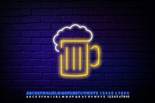 Neon icon for bar and night club Vector illustration White neon inscription Beer and white-yellow neon beer mug sign on dark brick wall background Trendy design and text effect