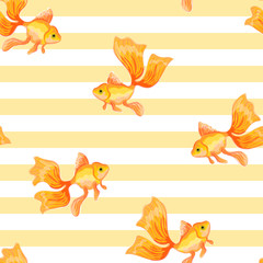 Goldfish. Seamless pattern with the image of fish. Imitation of watercolor. Isolated illustration.