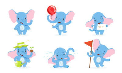 Wall Mural - Cute Elephant Cartoon Character Collection, Adorable Baby Animal in Different Situations Vector Illustration