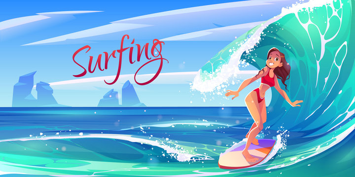 Young surf girl riding ocean wave on board, summer surfing activity, sports recreation, sea leisure hobby. Excited smiling woman in bikini having outdoors fun and adventure Cartoon vector illustration