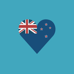 New Zealand flag icon in a heart shape in flat design. Independence day or National day holiday concept.