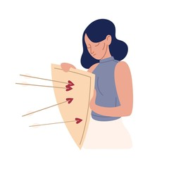 Upset cartoon woman with mental disorders hold shield with arrows isolated on white. Female rejection of love vector flat illustration. Psychological problem, defense mechanism and avoidance concept