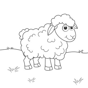 Coloring page outline of cartoon sheep. Page for coloring book of funny lamb for kids. Activity colorless picture about cute animals. Anti-stress page for child. Black and white vector illustration.