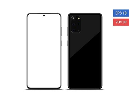 Realistic vector flat mock-up Samsung Galaxy S20 Plus with blank screen isolated on white background. Scale image any resolution