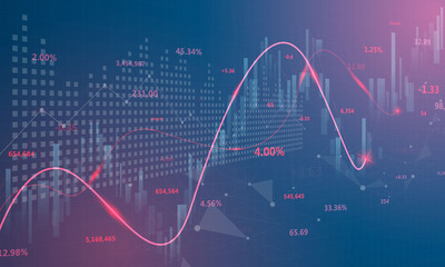 stock market, economic graph with diagrams, business and financial concepts and reports, abstract blue technology communication concept vector background - fototapety na wymiar