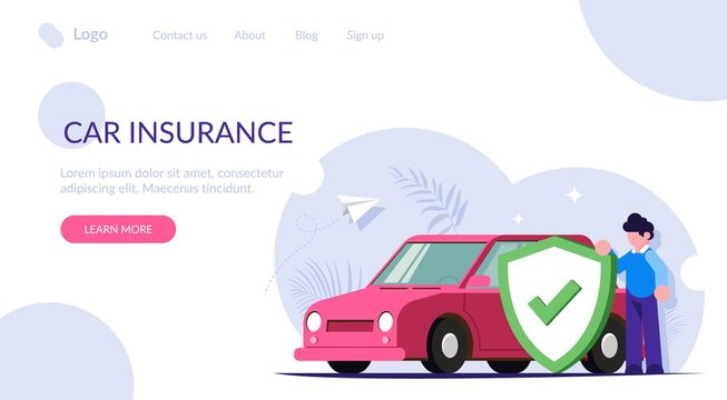 Car insurance concept. People insured his property against accidents or natural disasters. Man with a shield in the background of a car. Modern flat vector illustration. Landing web page template.