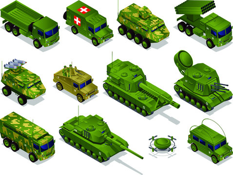 Army transport Combat Vehicles collection with tanks military vehicles set isometric icons on isolated background