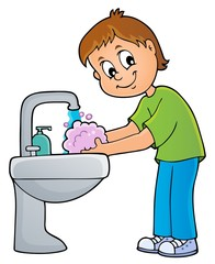 Fotorolgordijn Voor kinderen Boy washing hands theme 1