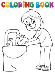Photo sur Aluminium Enfants Coloring book boy washing hands theme 1