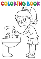 Fotorolgordijn Voor kinderen Coloring book girl washing hands theme 1