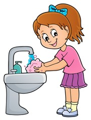 Fotorolgordijn Voor kinderen Girl washing hands theme 1
