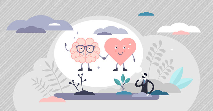 Heart mind connection scene vector illustration flat tiny persons concept.