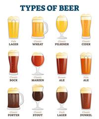 Types of beer vector illustration. Alcoholic beverage menu collection set.
