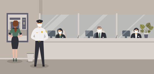 Bank office is open during epidemic of virus. Employees in protective medical masks serve customers. Hall with ATM or cash machine,counter,monstera and security guard. Vector flat illustration