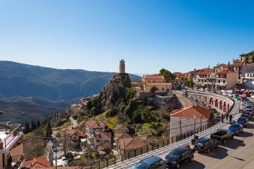 Arachova village, a popular winter destination in Parnassos mountain in Greece