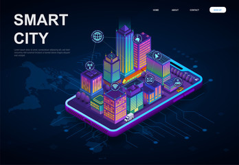 Colorful 3d Smart City with skyscrapers and connectivity icons on a digital device over a world map for global internet control, isometric vector illustration